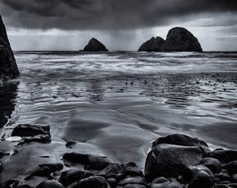 Beach Photography, Ocean, Landscape Photography, Pacific Coast, Oregon, Fine Art, Black and White Photography, Wall Art, Home Decor