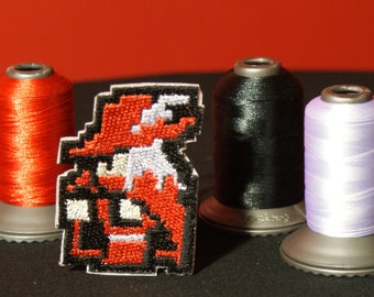 8 Bit Final Fantasy Red Mage Shiny Metallic Embroidery Iron On patch.