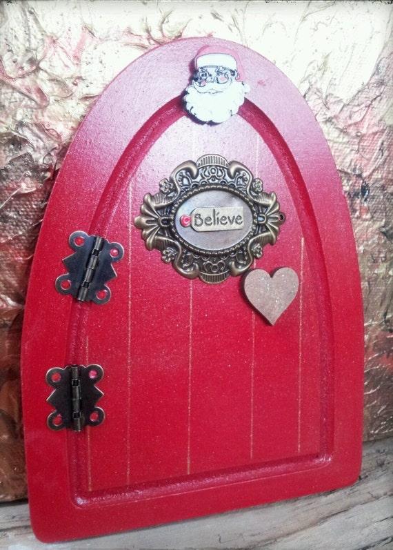 Christmas elf santa believe wooden fairy door by mcfaddencat for Wooden elf door