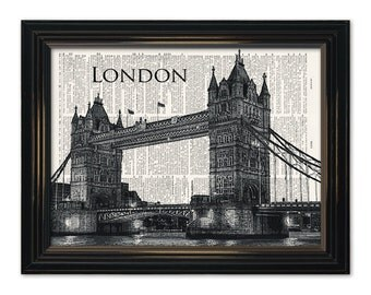 London Bridge dictionary art print. Classic world landmark on Upcycled Vintage Dictionary Page-8x10 *Buy any 3 prints get 1 FREE!