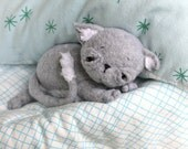 Toy Kitten- Stuffed Animal Cat -Tati Artistic Kitten -Handmade Sleepy Flannel Kitten-Made To Order