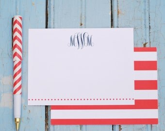 Stripes + monogram personalized stationery-FREE SHIPPING or DIY printable