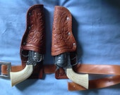 Vintage 1960s PONY BOY Cowboy Toy Cap Guns and Holsters SET  Child Western Apparel Toy Accessories