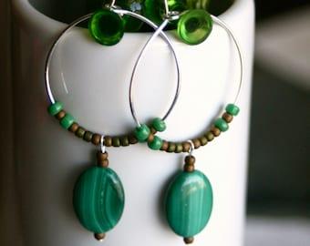 Emerald Earth Small Beaded Malachite Hoop Earrings