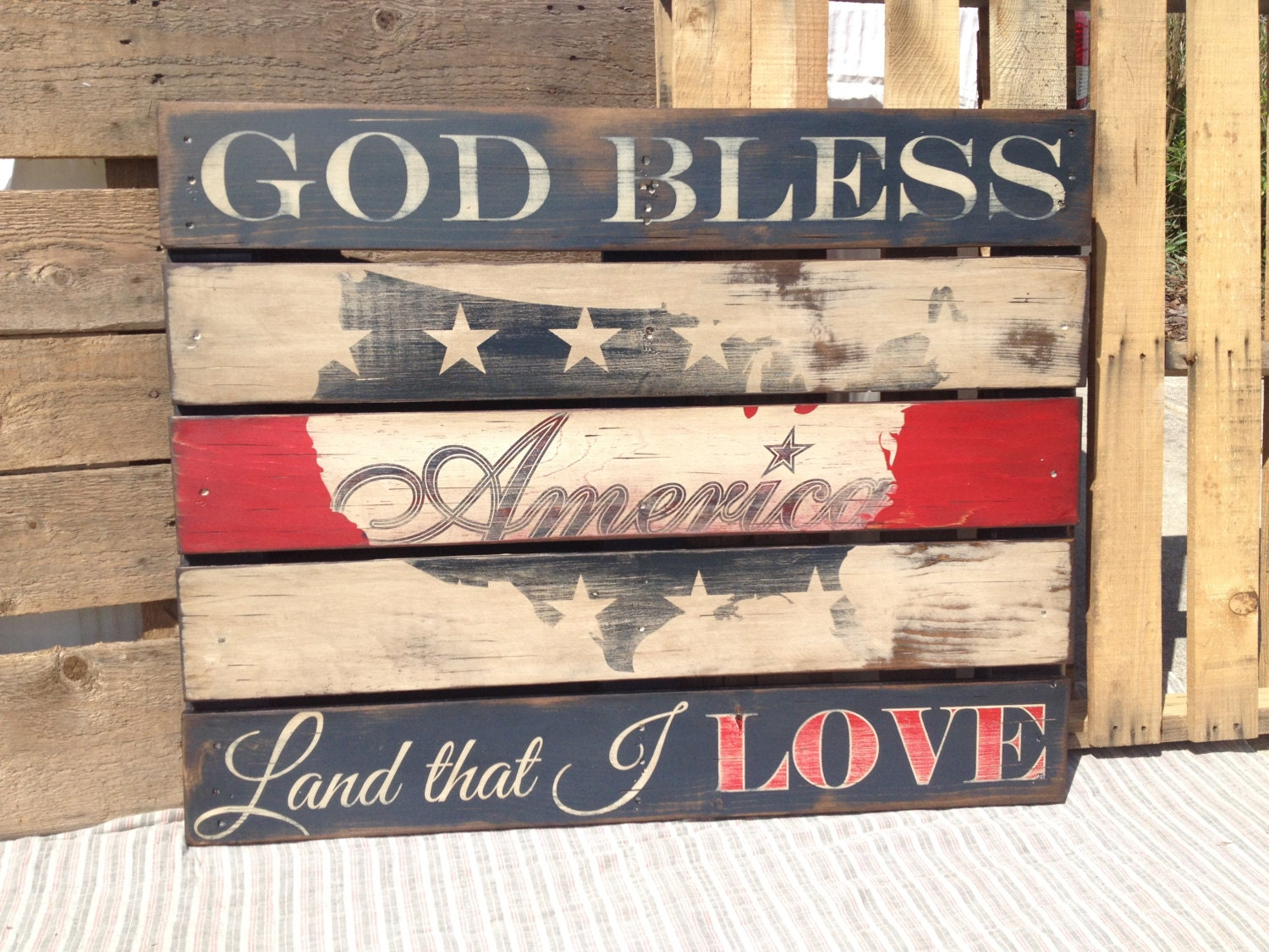 Wooden Sign American Flag Pallet wood Rustic USA Red