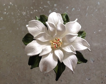 Poinsettia Brooch, Leather, Beautiful White Leather Poinsettia, Vintage, Handcrafted