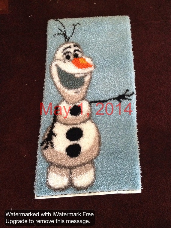 Olaf Snowman Latch Hook Rug From Frozen