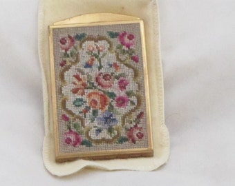 Vintage Brass and Needlepoint Compact Circa 1940's