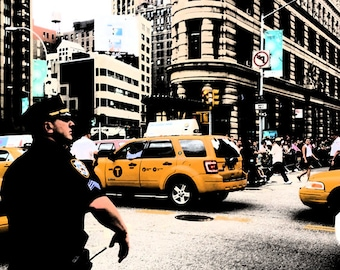 photography, digital, New York, urban, metro, city, street, street photography, cab, taxi, nostalgic, police, high contrast, dark ink