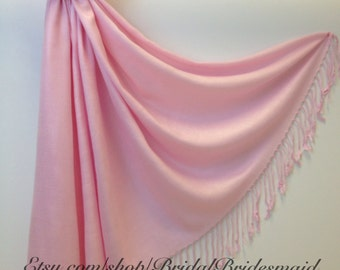 Wedding Season SALE - Light Pink PASHMINA - shawl - bridal scarf - bridal shawl - bridesmaid gift - wedding gift - scarf - shawl - gift -