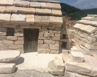 STONE HOUSE,  miniature house, sweet  traditional dalmatian stone house with the well