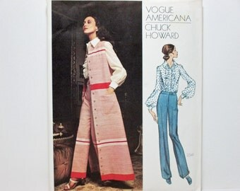 Chuck Howard Vogue Americana 2541 ~ Sleeveless A-Line Coat, Bias Ruffle Shirt and Straight Legged Pants Size 10 CUT 1970's Sewing Pattern