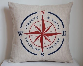 Compass pillow, nautical compass pillow, Navy blue with red compass pillow cover