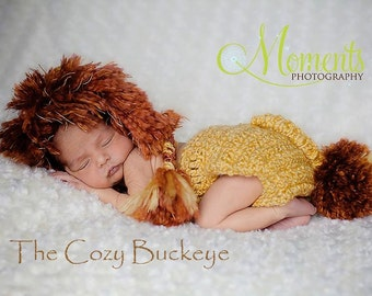 Ready to Ship * Lion Hat & Diaper Cover Set Photography Prop