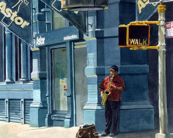 """Street Musician - Faithful reproduction of my Original Watercolor utilizing archival quality paper & inks, 17.5""""x12.5"""""""