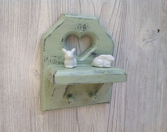 Shabby Chic Cottage Chic Heart Shelf Painted Pastel Green Distressed