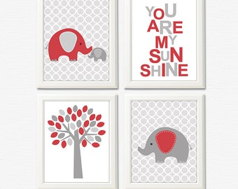 Red and grey elephant nursery art print - 8x10 UNFRAMED - baby wall art, kids art print, you are my sunshine, elephant, tree, baby elephant