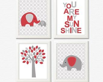 Red and grey elephant nursery art print - 8x10 UNFRAMED - baby wall art, kids art print, you are my sunshine, elephant, tree, baby elephant