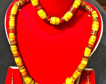Authentic Native American Trade Bead Necklace, Earring, Bracelet Set