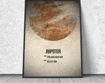 Jupiter, Planet, Solar System, Astronomy, giclee art print, science geek, cosmos, wall decor