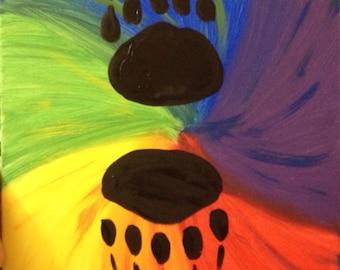 Rainbow bear paw painting