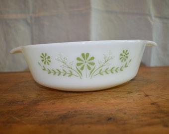 Vintage WHITE GLASS BAKEWARE  Casserole Dish Side Handles. Green Design.