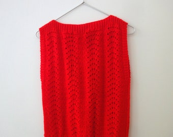 Vintage Bright Red Pointelle Knit Top (XSm/Sm)