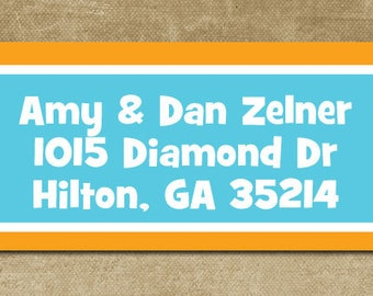 Personalized Address Labels, Personalized Return Labels, Mailing Labels, Custom Mailing Stickers,Block Address Labels, Orange and Pink