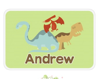 Dinosaur Activity Placemat - Personalized Double-Sided Children's Placemat - Dinosaurs Design