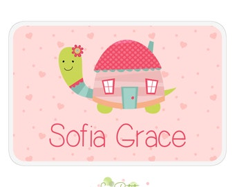 Turtle Activity Placemat - Personalized Double-Sided Children's Placemat - Pink Turtle House Design