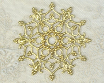 Ornate Raw Brass Filigree Round 3-106-R