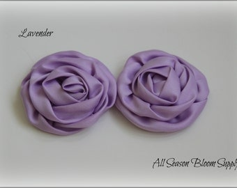 """Set of 2 Satin Rolled Rosettes, Rose Flowers, Satin Rose, Hair Accessories 3"""" Flowers, Lavender Rosettes"""