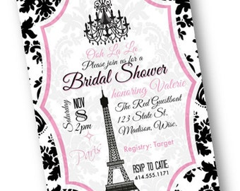 Paris Bridal Shower Invitation Shower OR Bachelorette Invite black and pink damask wedding printable download