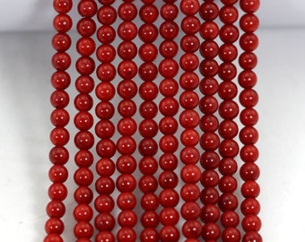 About 95 Pieces Red coral beads,One Full Strand,coral Beads,Gemstone Beads---4-5mm---16inches----S0022