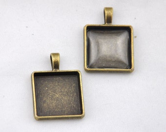 Square Base Settings--- 8pcs Antique Bronze Square Cameo  Setting Charm Pendants---22*22mm----G133