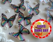 12 Small Assorted RAINBOW MONARCH Edible Butterflies Pre Cut Decorations Cakes Cookies Cake Pops Garnish Wine Glasses Plates Dessert Tables