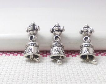 5  Tibetan  Buddha Bell  Charms  Yoga Charms Antique Silver Tone