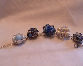 blue vintage upcycled clip earrings bracelet