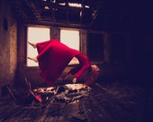 Levitating Girl in Vintage Red Dress Falling Fine Art Photo Print