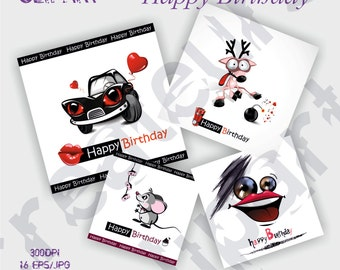 Happy Birthday postcard  Elements Set / 16JPG/EPS For Personal and Commercial use/ Clip Art/ Instant Download