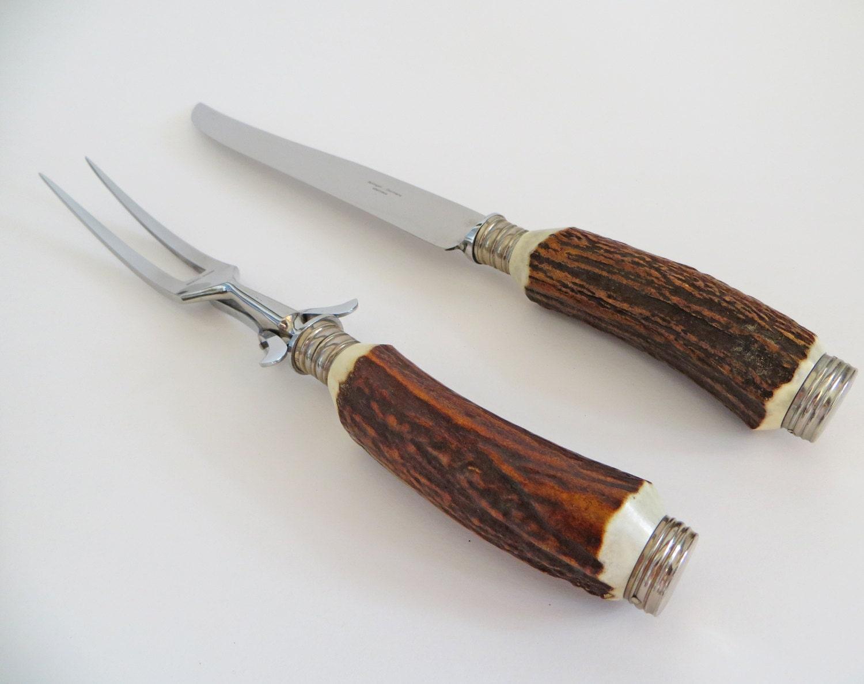 Vintage Solingen Carving Set German Bone Handled Knife Fork
