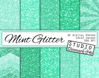 Mint Glitter Digital Paper - Light Green Sparkle Chunky Glitter Chevron - Mint Metallic Shine - 10 Papers - 12in x 12in - Instant Download