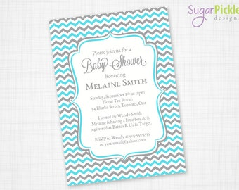 Baby Shower Invitation, Blue Chevron Invitation, Baby Shower Party Invite, Blue Chevron Invite, PRINTABLE