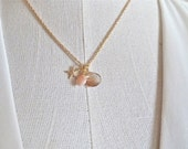 Dainty gold fill starfish necklace with pink opal and quartz, gold starfish necklace, dainty beach inspired necklace WAIMEA PINK
