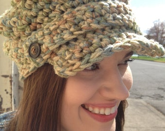 Crochet Baby Hat With Bill Pattern : Womens Crocheted Newsboy Hat - Crocheted Cap - Womens ...
