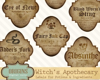 Witch Apothecary Labels, Magick Potion Ingredient Labels, Halloween Labels, Printable Digital Collage Sheets
