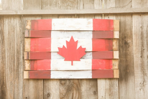 Wine Barrel Canadian Flag Wall Hang Reclaimed Wood By Martellas