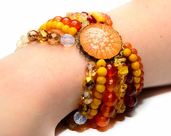 Orange, Yellow & Red Stretch Bracelet