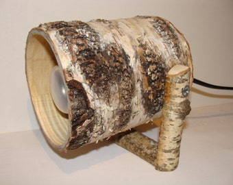Spot Light with a birch bark-nature - wood lamp