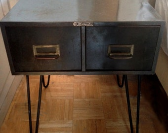 Steelmaster Steel Drawer Side Table with Hairpin Legs